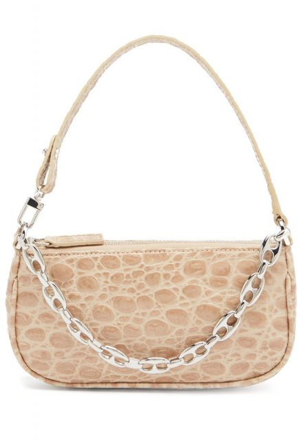 nude croc handbag with silver chain