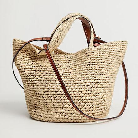 woven raffia shopper handbag with tan handles