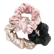 pink black and oyster hair scrunchie